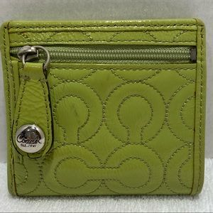 COACH Patent Leather Wallet- Green Embroid…